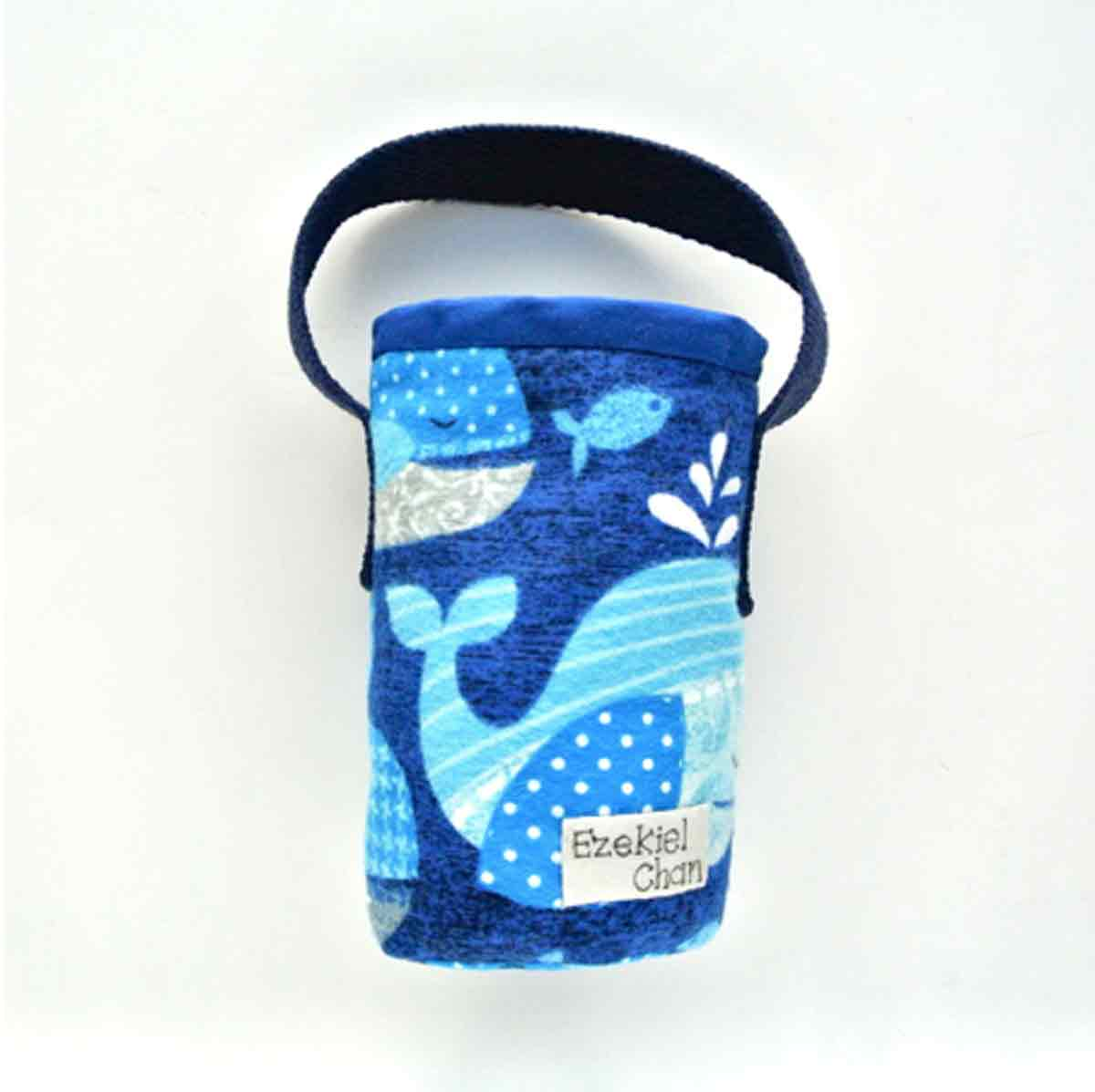 Finished front view of DIY Insulated Water Bottle Holder Bag Carrier with Small Name Tag on Side