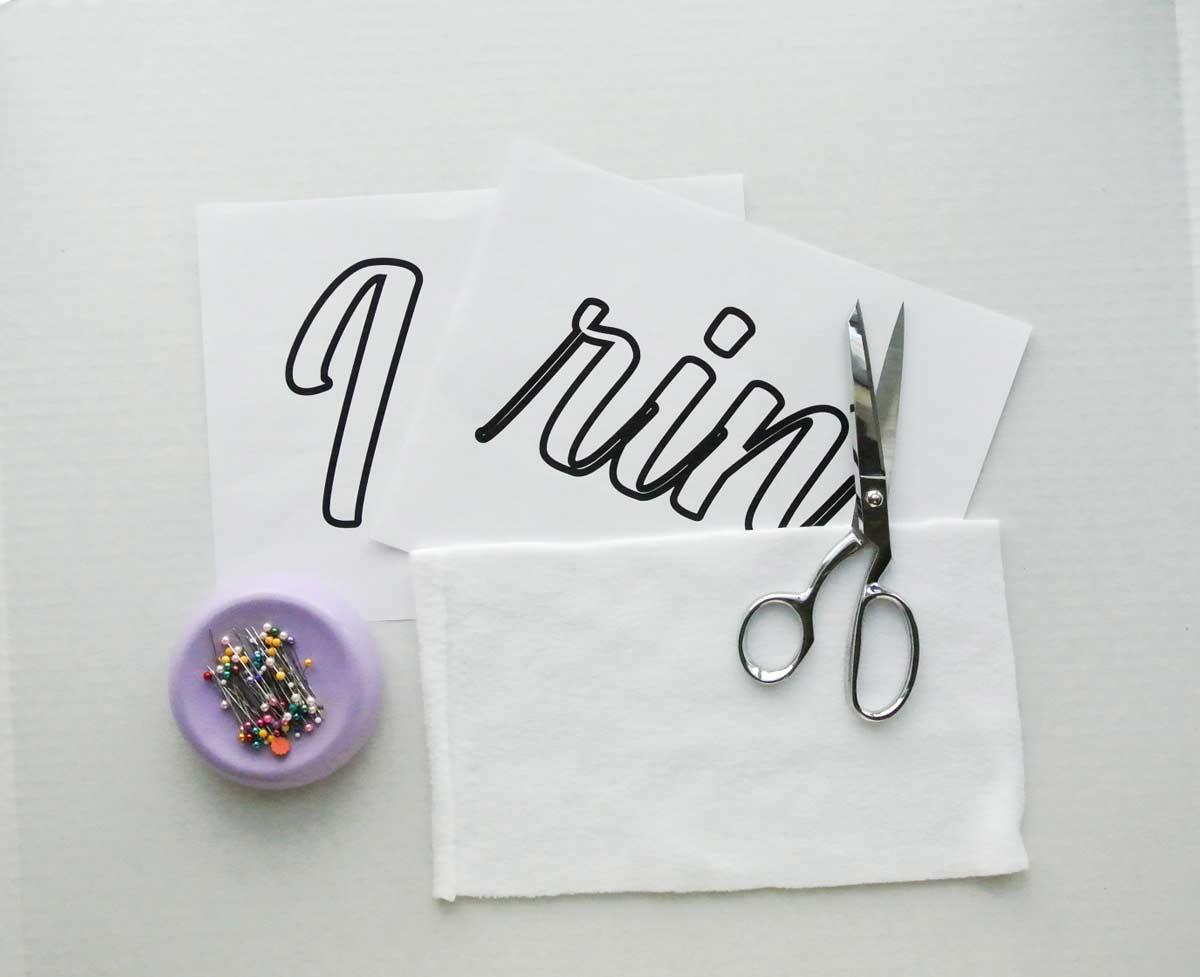 Fabric Letter Applique Printout, fabric, scissors and pins