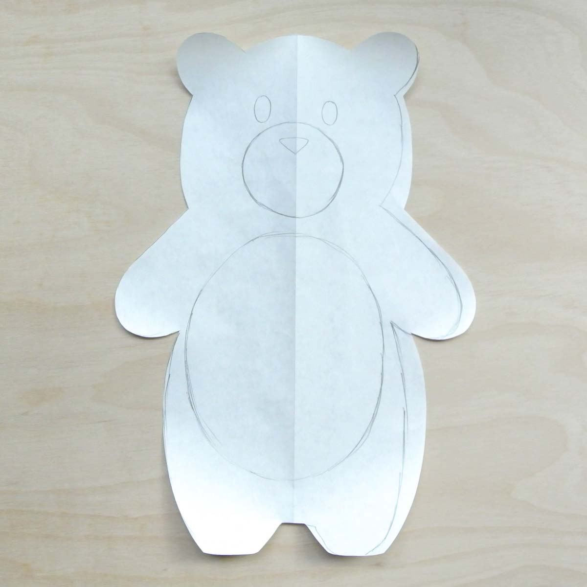 Bear Plush Pattern Cut out symmetrically. How to Make Plushie Tutorial