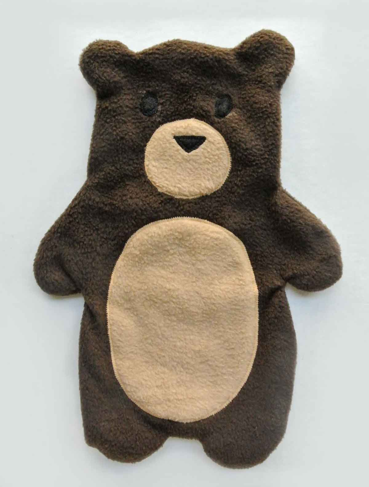 Flat Bear Plush turned to right side prior to stuffing. How to Make Plushie Tutorial