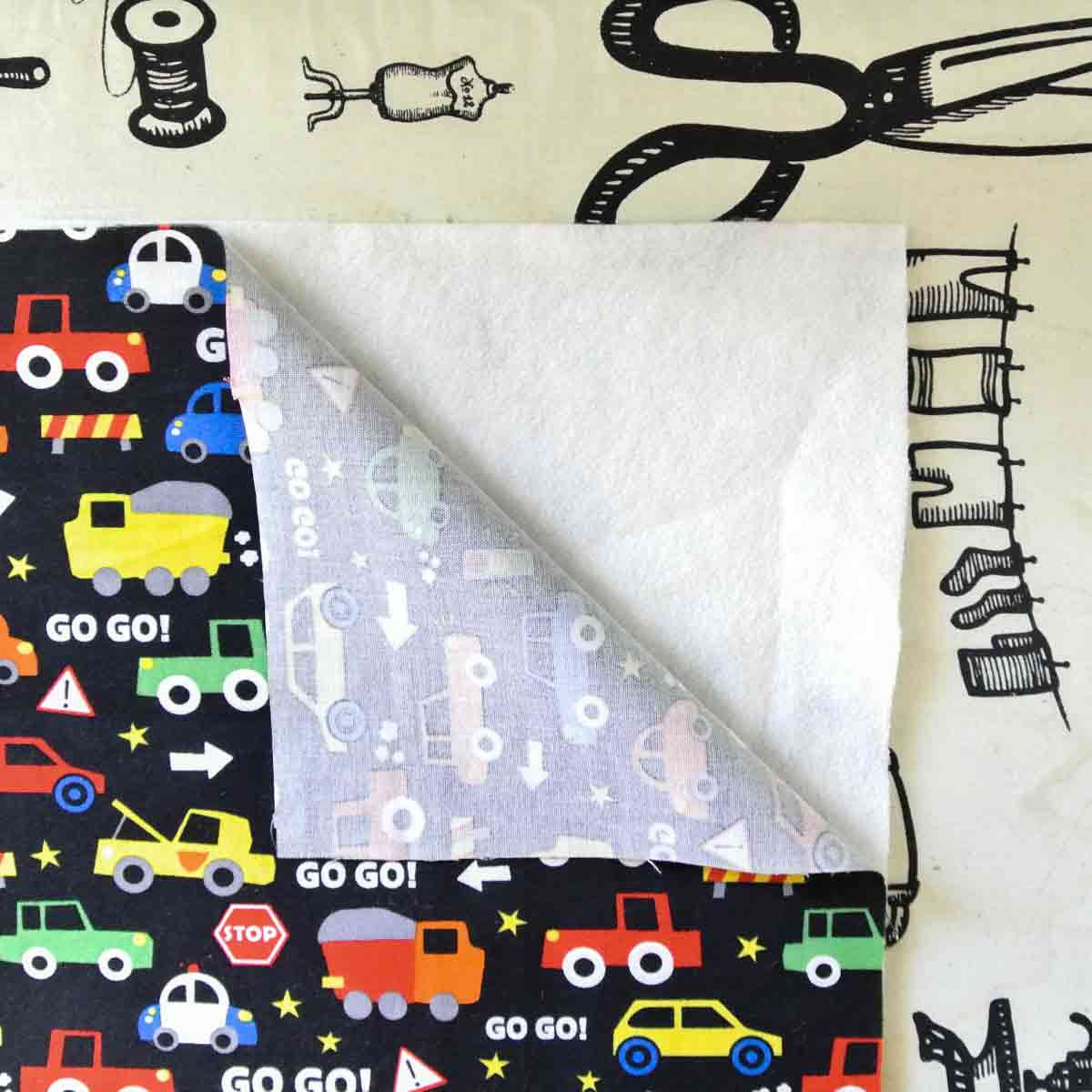 DIY Toy car play mat wallet carrier applying fusible fleece to outer piece