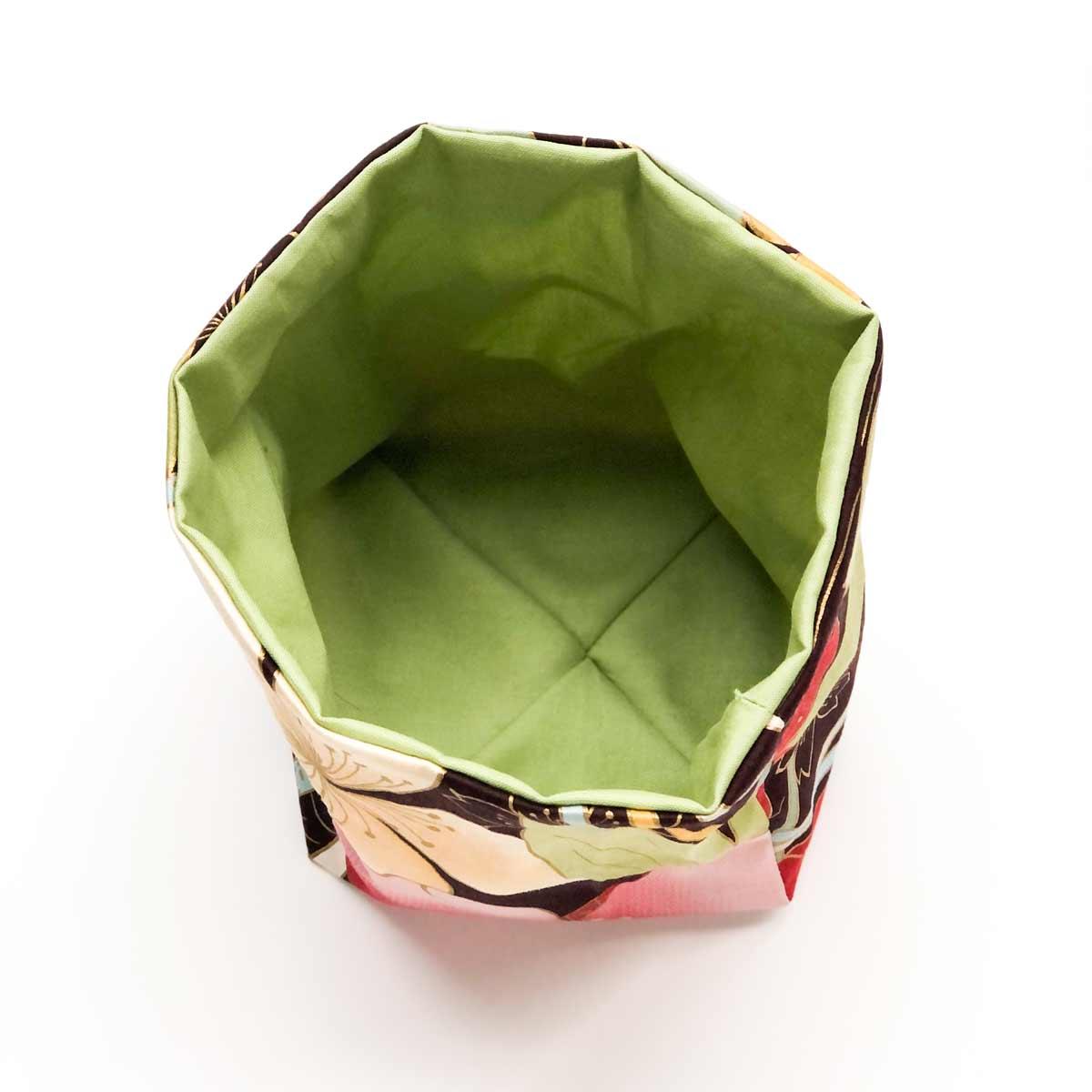 DIY dice bag lining and exterior sewn together