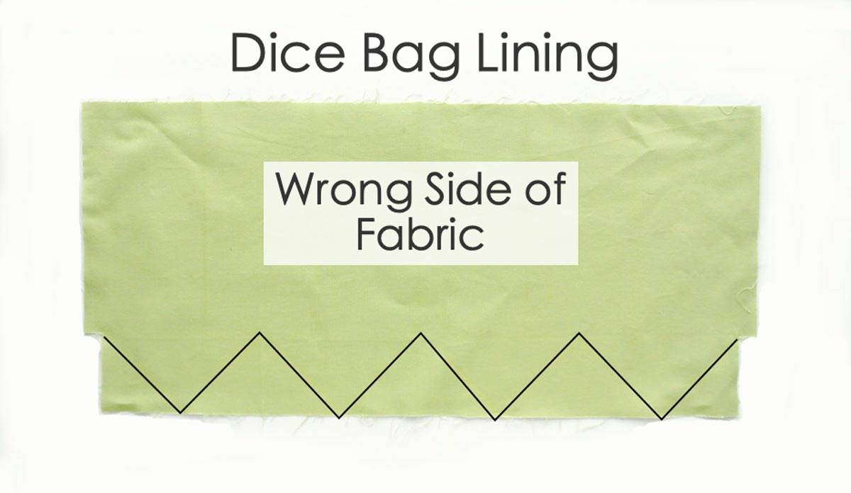 Dice Bag Lining Pattern Piece cut out with markings on bottom of wrong side of fabrc