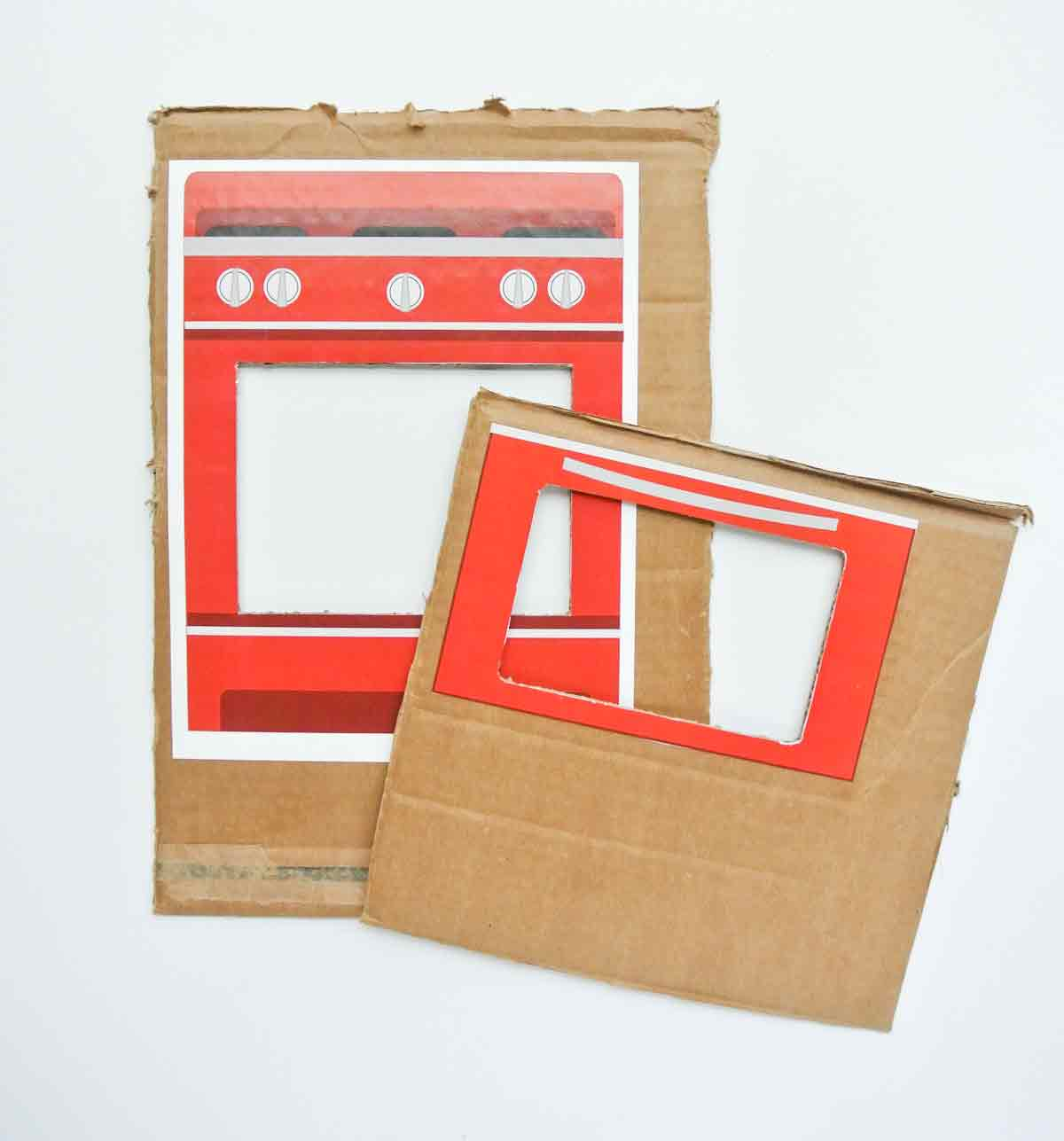 Oven and oven door printable glued onto cardboard with opening removed. toddler cookie counting activity free printable