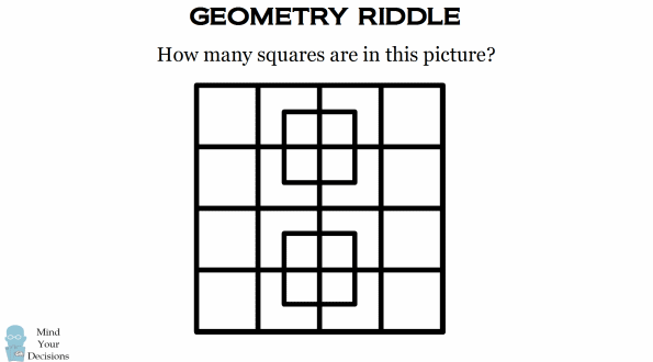 How Many Squares Are In This Picture? Sunday Puzzle