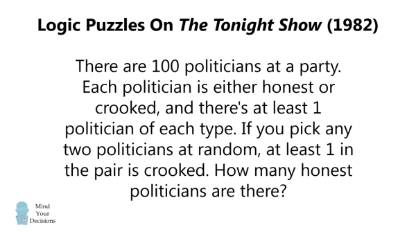Logic Puzzles From The Tonight Show (1982)  Can You Solve Them