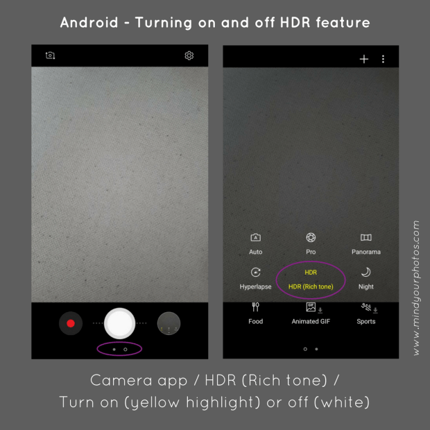 Adjust HDR settings on your phone camera to save up phone memory