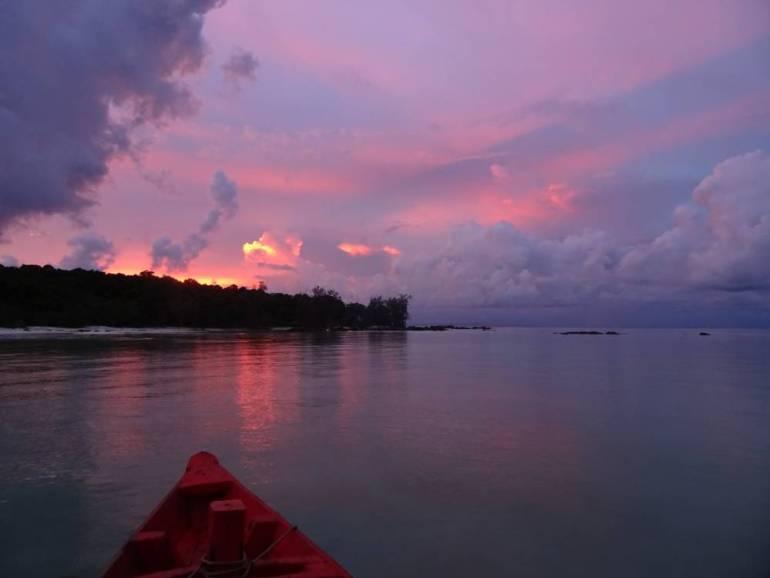 Sonnenuntergang vom Boot aus