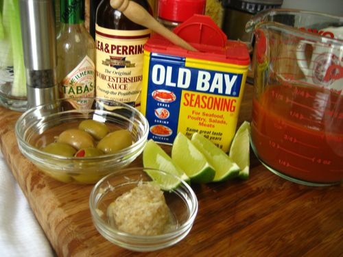 just some of the ingredients in my version of a bloody mary