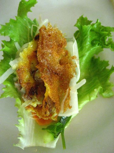 assembling your banh xeo lettuce wrap