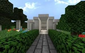 Kleine Villa Mit Gartenbereich Und Tempel In Minecraft