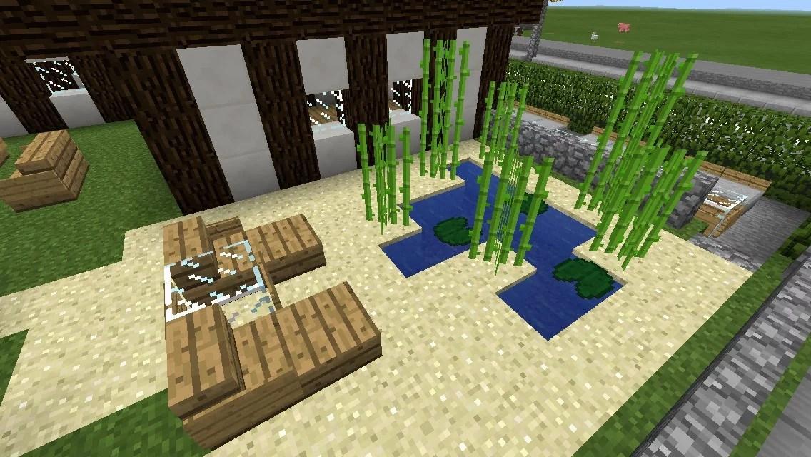 kleiner garten mit teich und liegen in minecraft bauen home sweet home. Black Bedroom Furniture Sets. Home Design Ideas