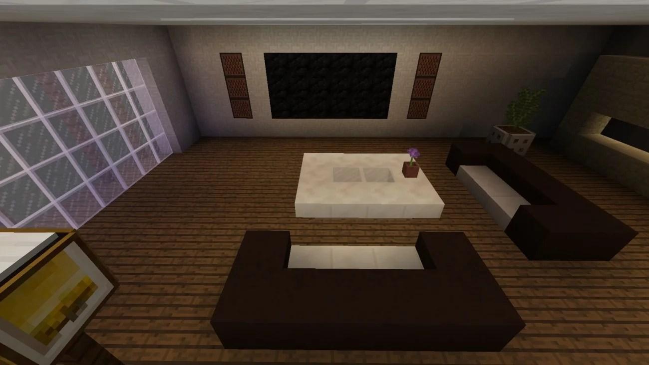 Modernes Wohnzimmer in Minecraft bauen  minecraft