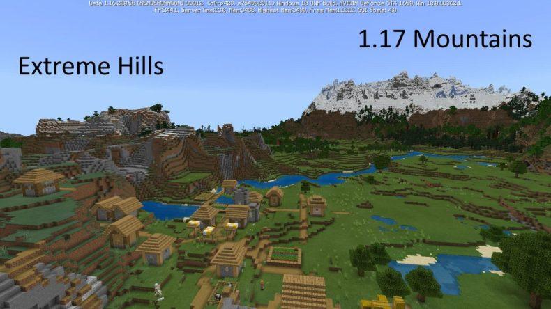 comparación montañas antiguas y nuevas minecraft 1.17 beta