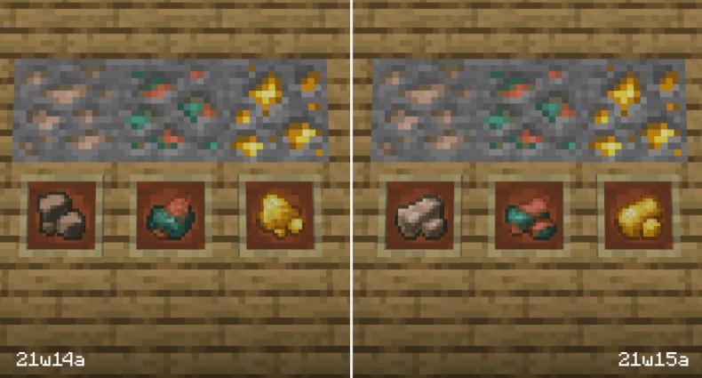 Nuevas texturas para minerales crudos en la instantánea 21w15a