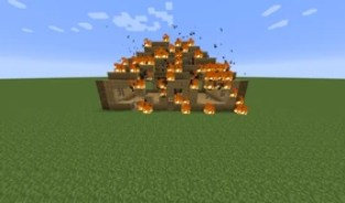 Image result for burning house in minecraft