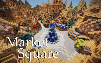 medieval minecraft builds fountain market square build