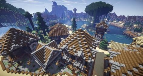 medieval village minecraft town building port water project huge pl