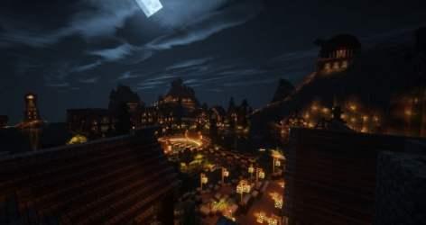 medieval village town minecraft port building huge water pl