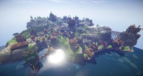 fantasy village kingdoms realistic minecraft arch mountain castle town building fishing built