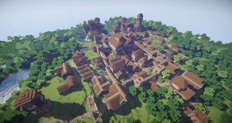 village fantasy realistic kingdoms arch minecraft town mountain castle building