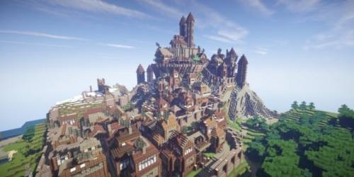 kingdoms minecraft castle fantasy village realistic buildings arch building town mountain map palace minecraftbuildinginc inc