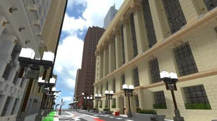 hall chicago minecraft town building illinois project