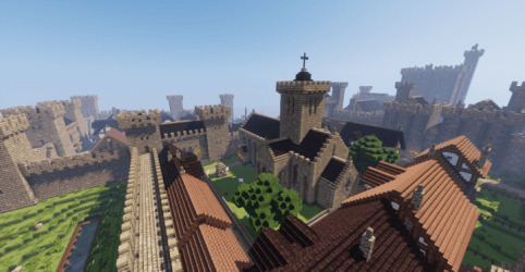 minecraft medieval castle town village wall map ocean pc building mods