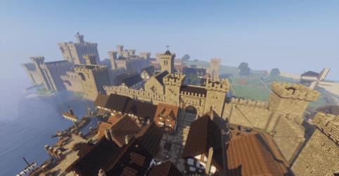 medieval castle town minecraft wall build village keep building seed minecraftbuildinginc ocean buildings pixel game exterior games movie