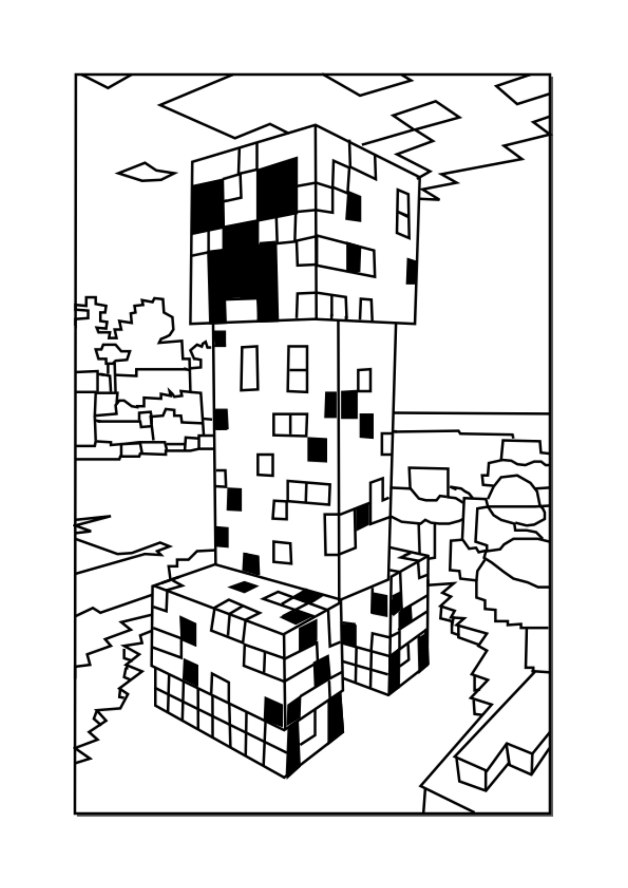 Minecraft Coloring Pages Creeper : minecraft, coloring, pages, creeper, Minecraft, Creeper, Coloring