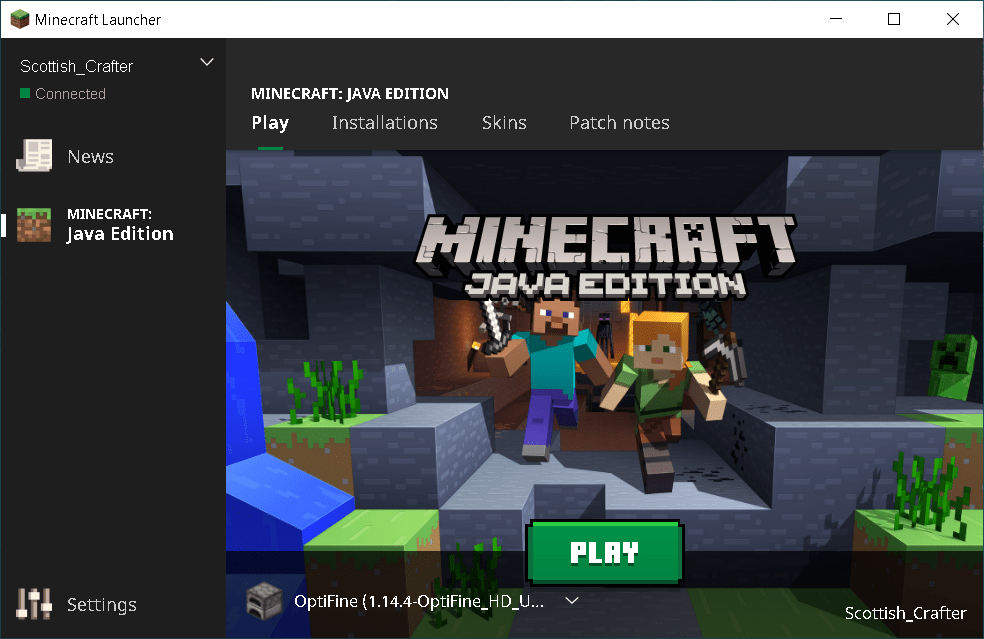 Minecraft launcher showing Optifine 1.14.4 profile ready to play.