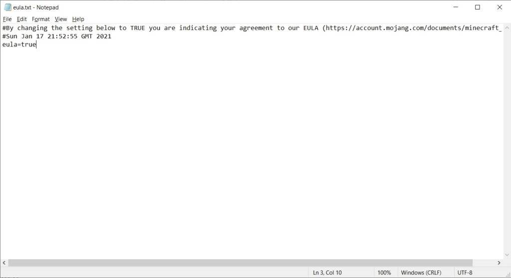 Eula.txt contents in notepad