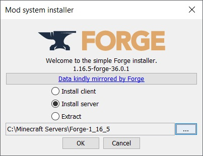 Forge installer window
