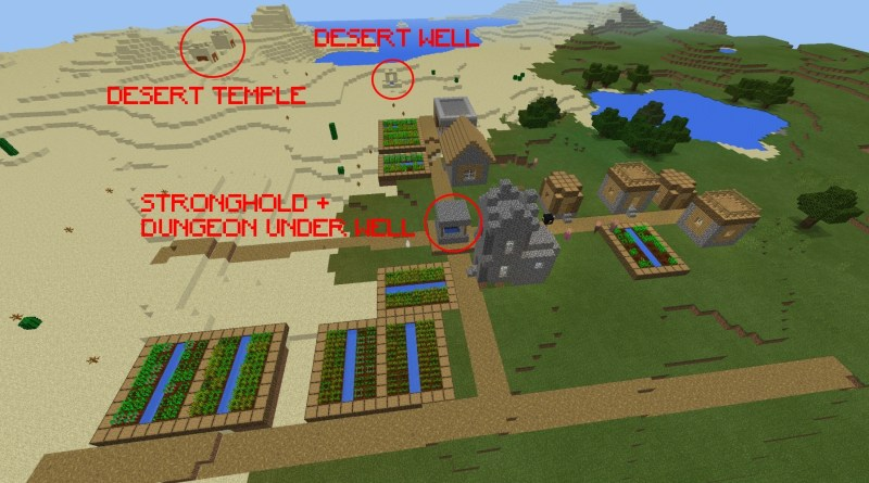 [PE 1.1] Stronghold & Dungeon below Village + Desert Temple (Epic Loot!)