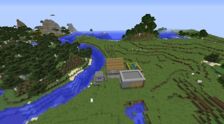 File:Small Minecraft village seed with blacksmith by birch forest with sheep jpg Minecraft seeds wiki