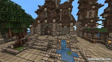 village medieval map minecraft tower pond clock garden minecraftxl largest outside