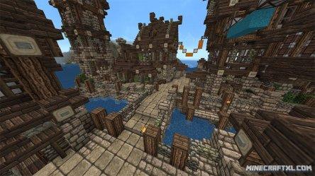 village medieval map minecraft connecting plenty bridges halves complete minecraftxl