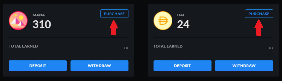 purchase crypto for Decentral games