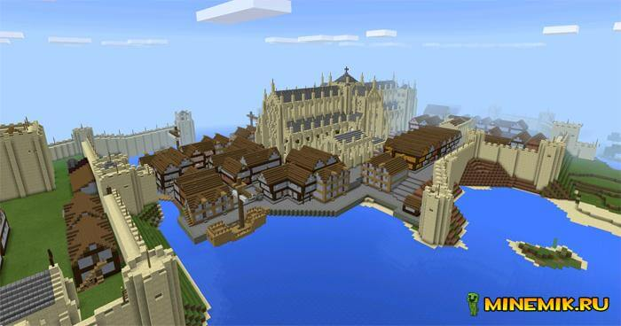 карта средневековый город для майнкрафт pe 0.13.1