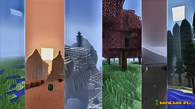 Разнообразные биомы в minecraft pe 1.0