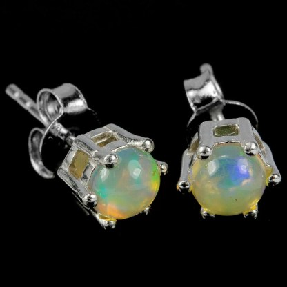 Opale rainbow cabochon argent boucles d'oreille