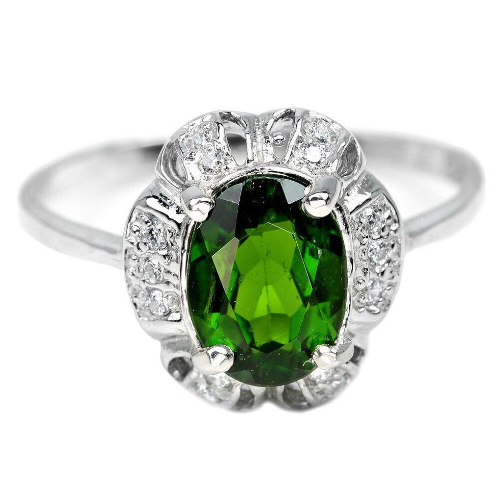Bague avec Chrome Diopside verte – Argent Sterling 925