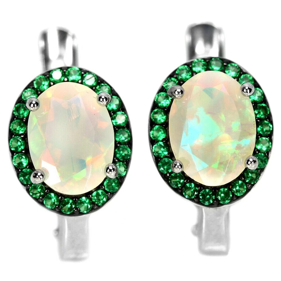 Boucles d'Oreilles avec Opale Rainbow – Argent Sterling 925