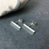 Sterling silver bar earrings - Minerals Rock Studio