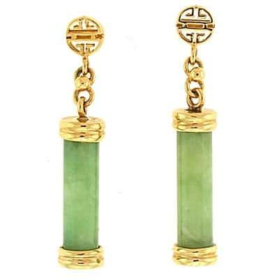 Aretes colgantes de oro jade
