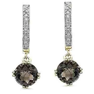 Pendientes de diamantes de cuarzo ahumado