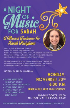 """""""A NIGHT OF MUSIC FOR SARAH"""" poster"""