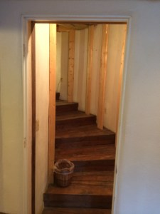 This was closed off and used as a storage closet. The stairs are quite lovely and massive. 52 inches wide by 10x22 pie shaped wedges.