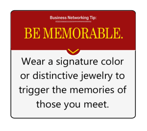 be memorable at networking events