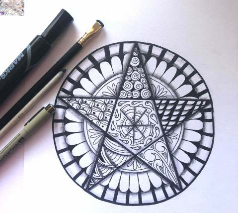 zentangle, zentangle inspired art, tangled pentagram, 100 day project